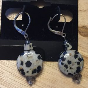Sterling silver spotted jasper stone earrings